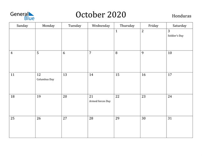 Image of October 2020 Honduras Calendar with Holidays Calendar
