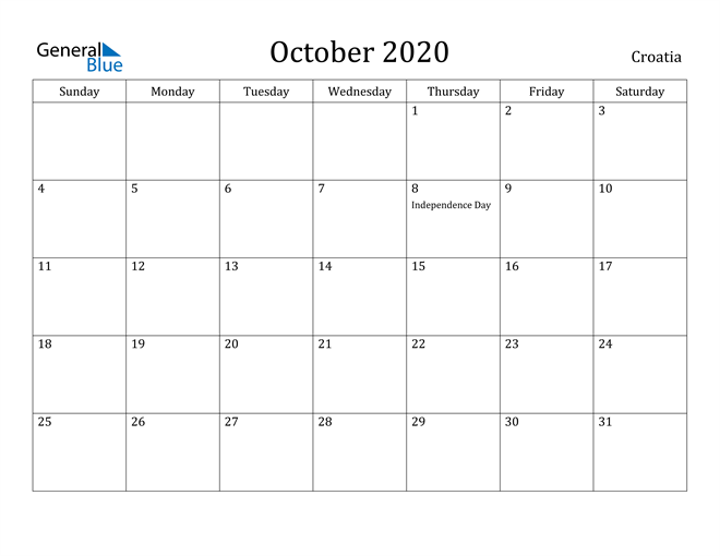 Image of October 2020 Croatia Calendar with Holidays Calendar