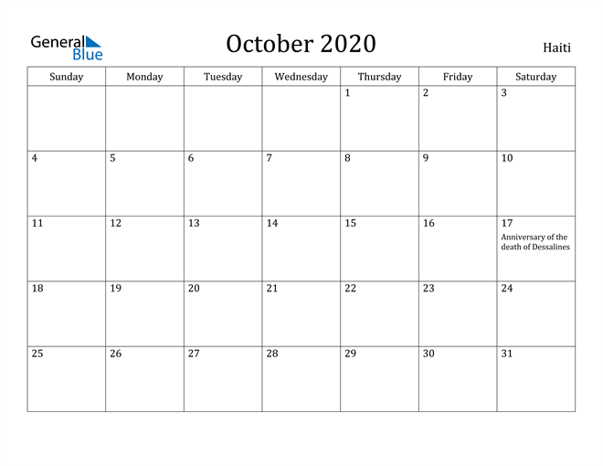 Image of October 2020 Haiti Calendar with Holidays Calendar