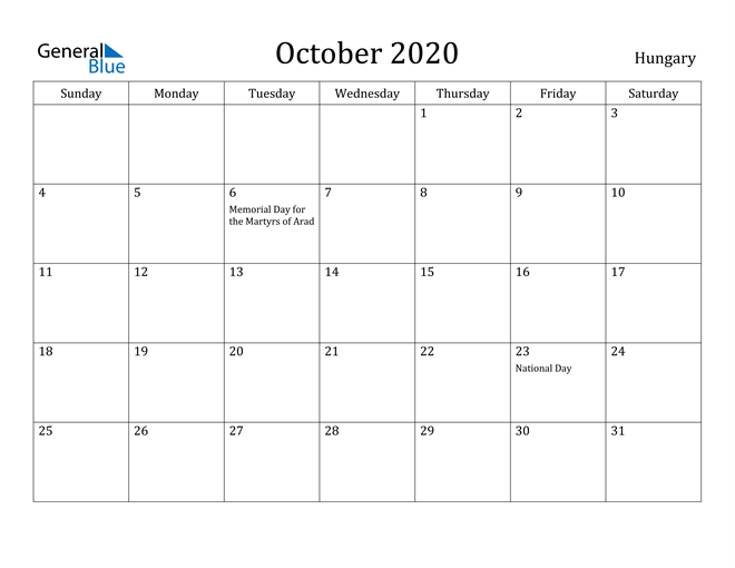 Image of October 2020 Hungary Calendar with Holidays Calendar