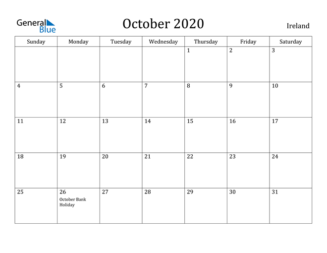 Image of October 2020 Ireland Calendar with Holidays Calendar