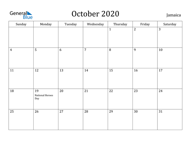 Image of October 2020 Jamaica Calendar with Holidays Calendar