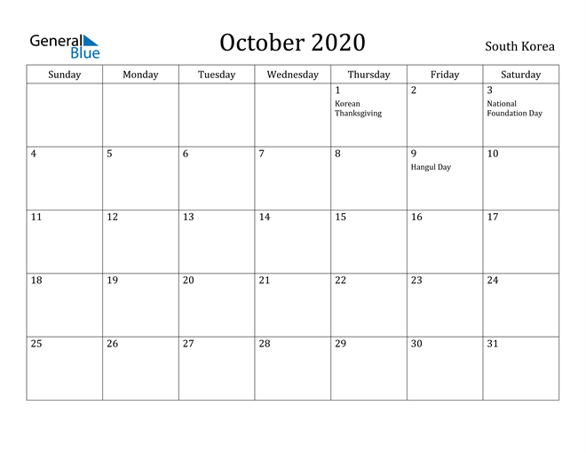 Image of October 2020 South Korea Calendar with Holidays Calendar