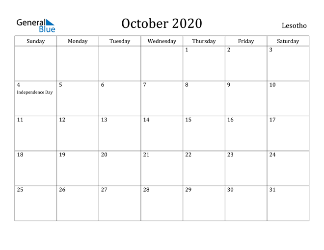 Image of October 2020 Lesotho Calendar with Holidays Calendar