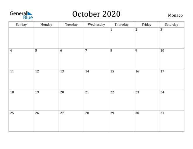 Image of October 2020 Monaco Calendar with Holidays Calendar