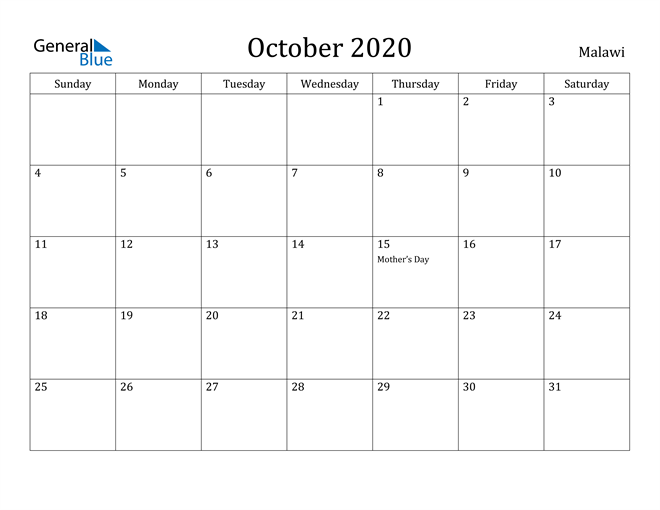 Image of October 2020 Malawi Calendar with Holidays Calendar