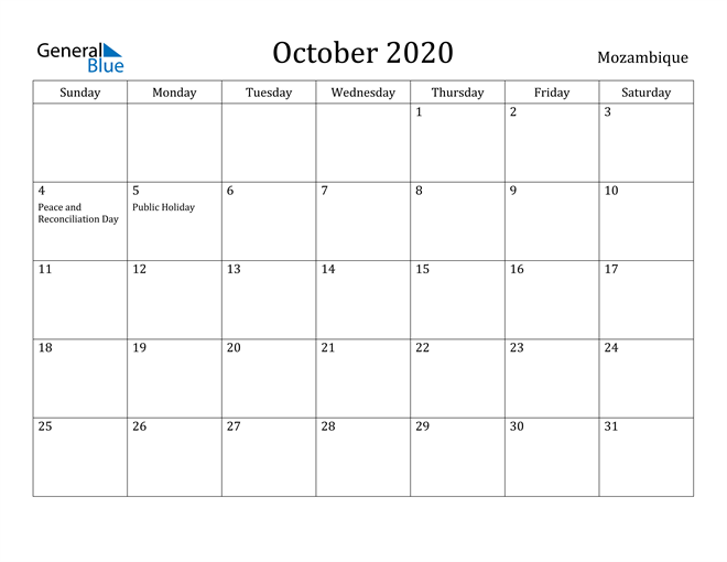 Image of October 2020 Mozambique Calendar with Holidays Calendar