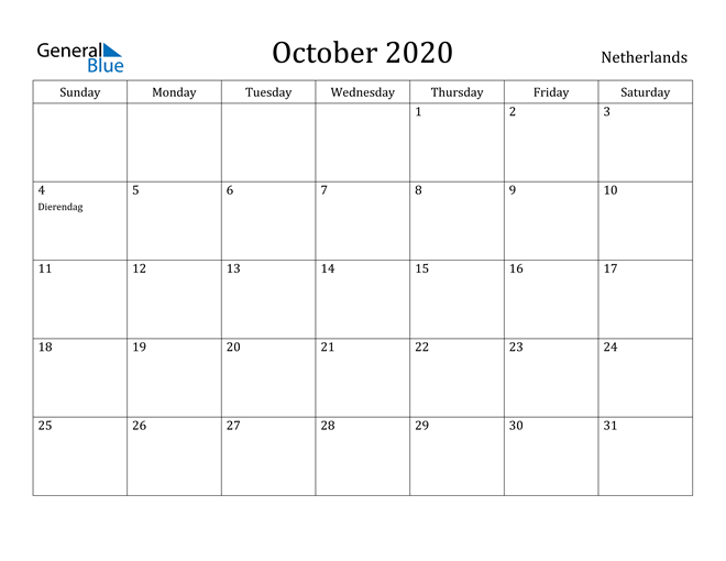 Image of October 2020 Netherlands Calendar with Holidays Calendar