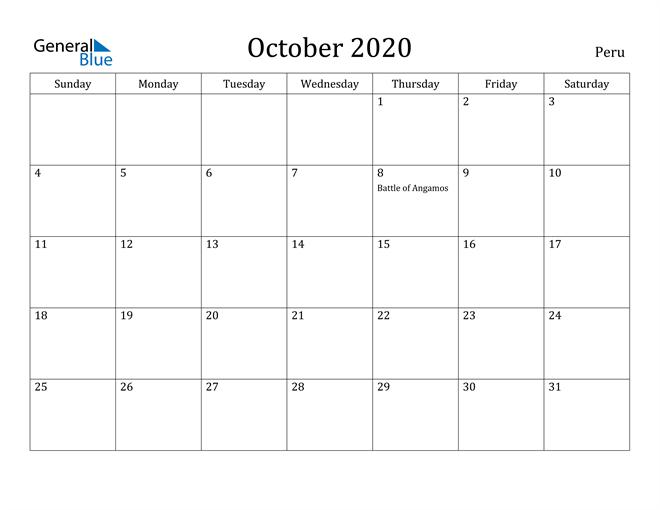Image of October 2020 Peru Calendar with Holidays Calendar