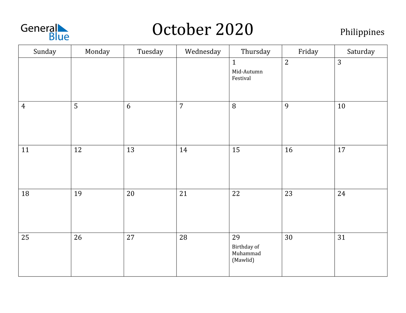 Image of October 2020 Philippines Calendar with Holidays Calendar