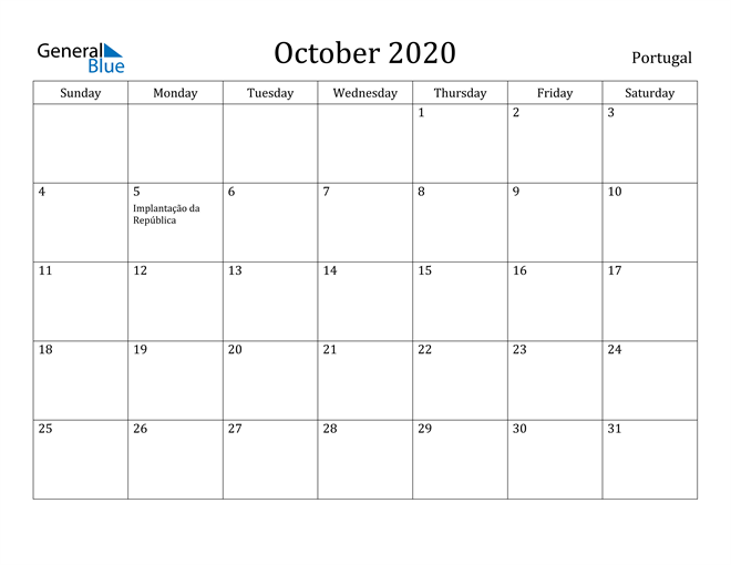 Image of October 2020 Portugal Calendar with Holidays Calendar