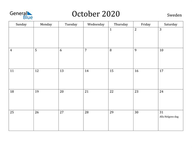 Image of October 2020 Sweden Calendar with Holidays Calendar