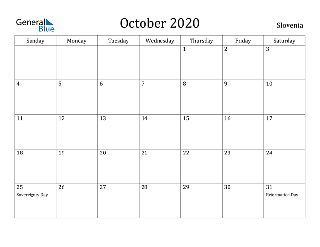 Image of October 2020 Slovenia Calendar with Holidays Calendar