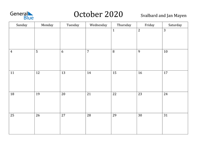 Image of October 2020 Svalbard and Jan Mayen Calendar with Holidays Calendar