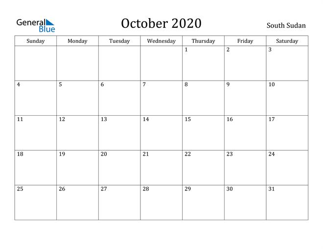 Image of October 2020 South Sudan Calendar with Holidays Calendar