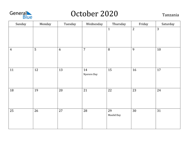 Image of October 2020 Tanzania Calendar with Holidays Calendar