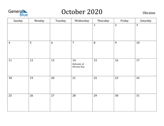 Image of October 2020 Ukraine Calendar with Holidays Calendar