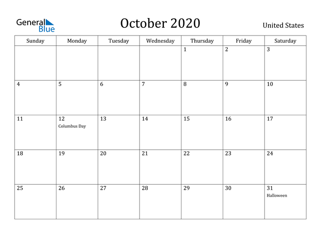 Image of October 2020 United States Calendar with Holidays Calendar