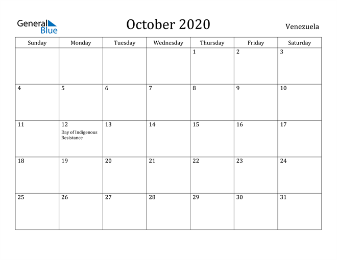 Image of October 2020 Venezuela Calendar with Holidays Calendar
