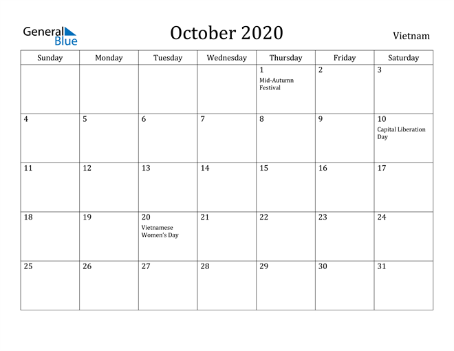 Image of October 2020 Vietnam Calendar with Holidays Calendar