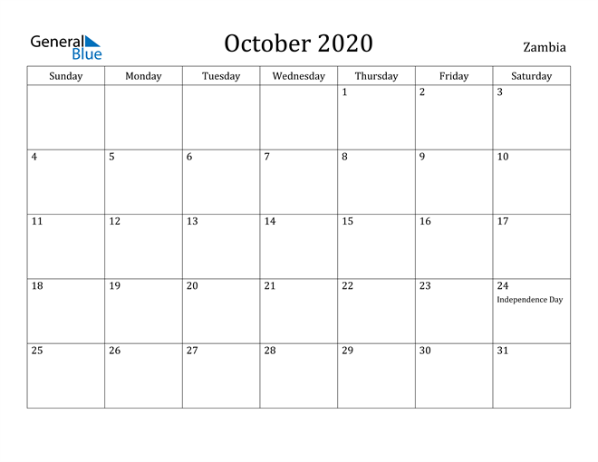 Image of October 2020 Zambia Calendar with Holidays Calendar