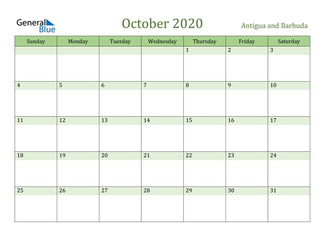 October 2020 Cool and Relaxing Green Calendar Calendar