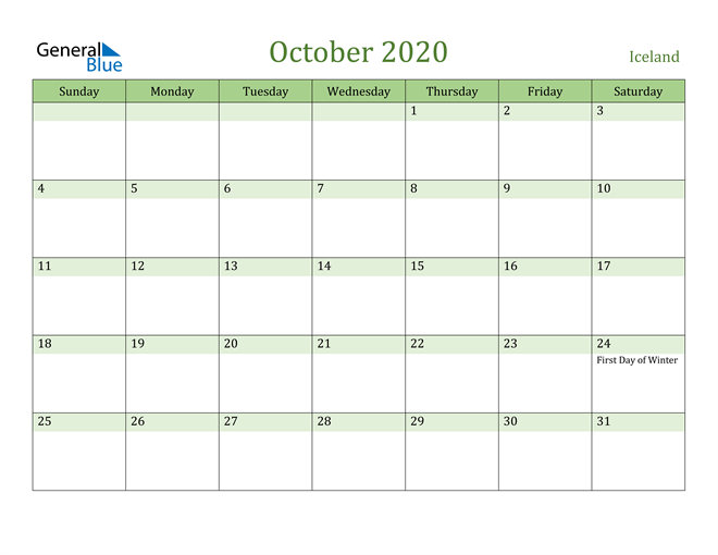Image of October 2020 Cool and Relaxing Green Calendar Calendar