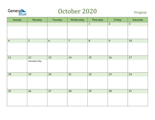 October 2020 Calendar with Uruguay Holidays