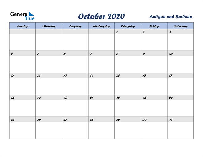 October 2020 Italicized and Cool Blue, A Fun Calendar in PDF, Word and Excel Calendar