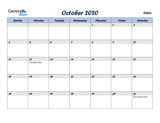 Image of October 2020 Italicized and Cool Blue, A Fun Calendar in PDF, Word and Excel Calendar