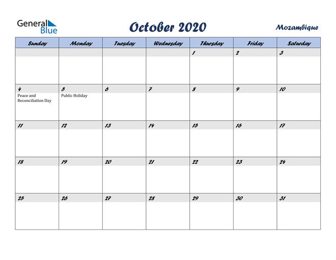 October 2020 Calendar with Holidays