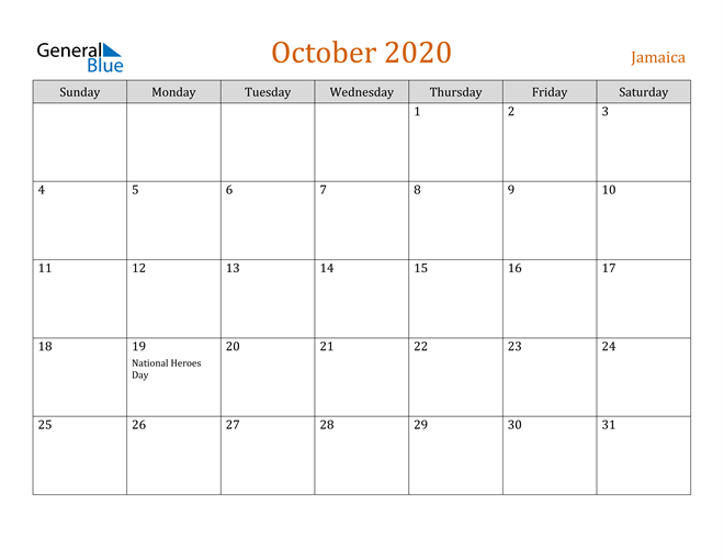 Image of October 2020 Contemporary Orange PDF, Word and Excel Calendar Calendar