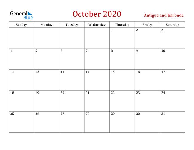 October 2020 Dark and Red Professional Office Calendar Calendar
