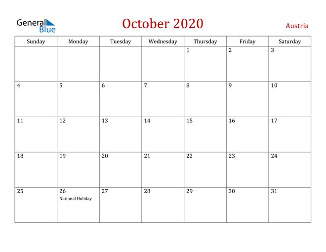 Image of October 2020 Dark and Red Professional Office Calendar Calendar