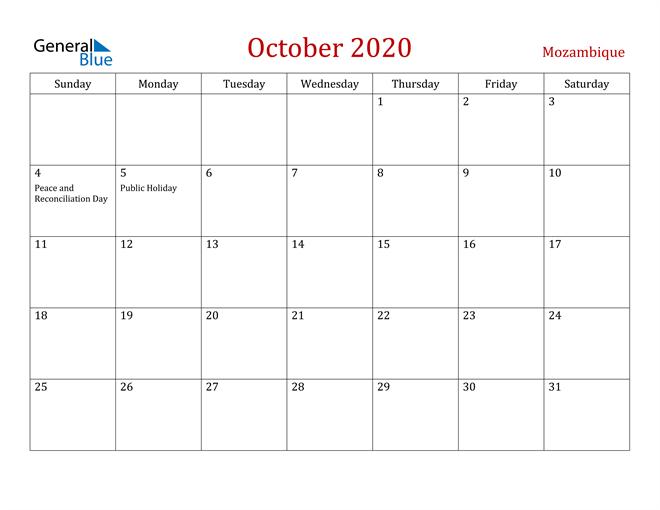 Mozambique October 2020 Calendar