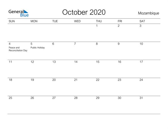 Printable October 2020 Calendar for Mozambique