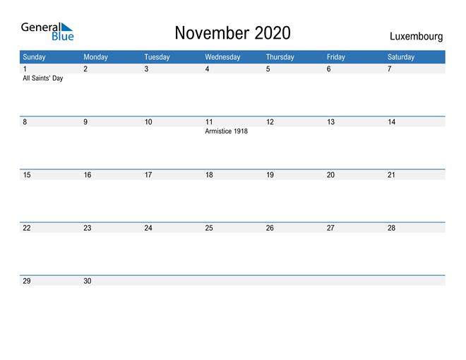 Fillable November 2020 Calendar