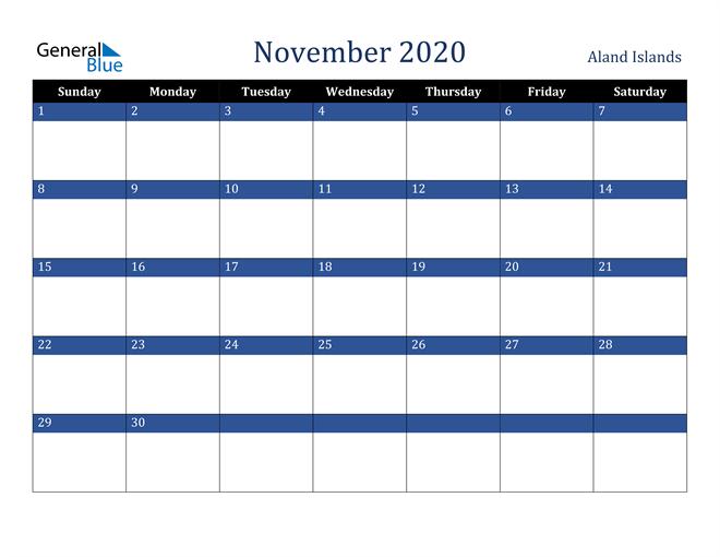 November 2020 Aland Islands Calendar