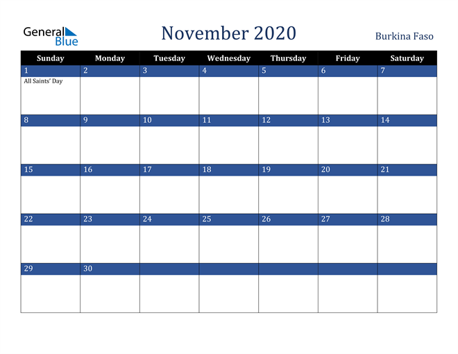 November 2020 Burkina Faso Calendar