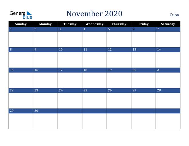 Image of November 2020 Stylish Dark Blue Calendar in PDF, Word and Excel Calendar