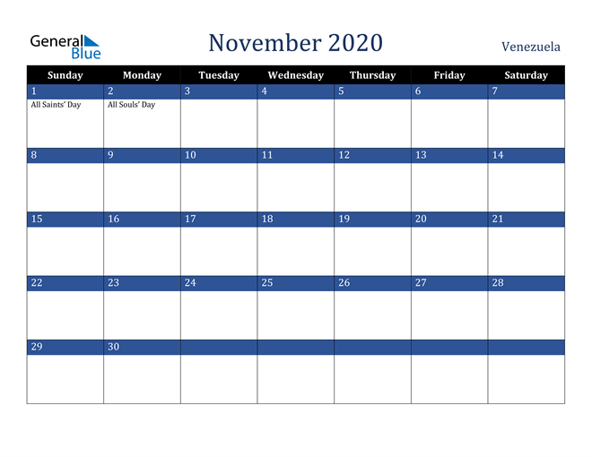November 2020 Venezuela Calendar