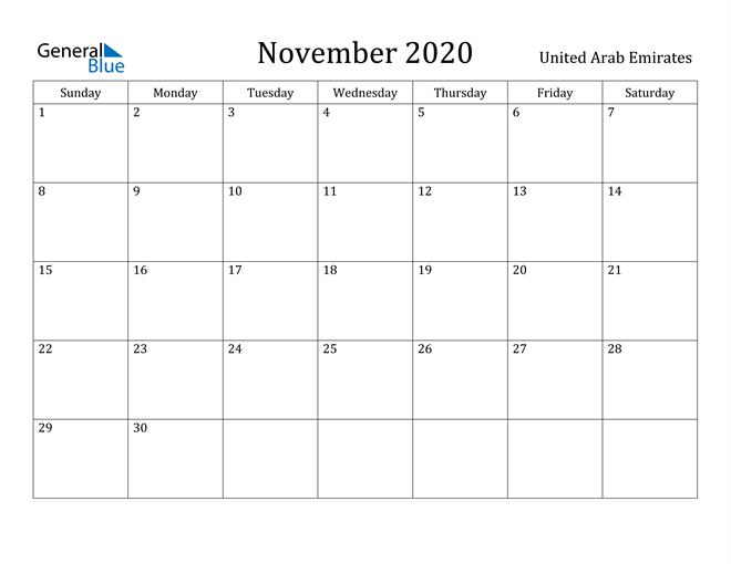 Image of November 2020 United Arab Emirates Calendar with Holidays Calendar