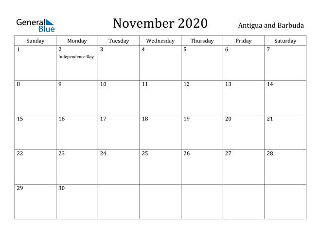 Image of November 2020 Antigua and Barbuda Calendar with Holidays Calendar
