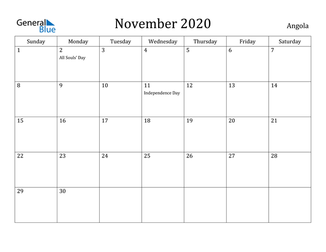 Image of November 2020 Angola Calendar with Holidays Calendar
