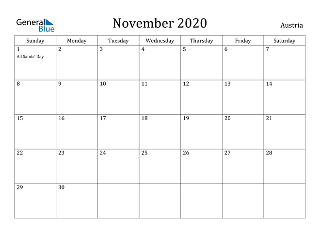 Image of November 2020 Austria Calendar with Holidays Calendar