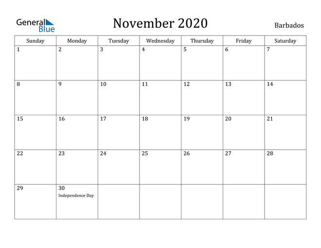 Image of November 2020 Barbados Calendar with Holidays Calendar