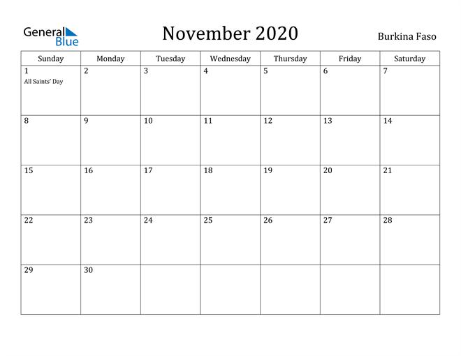 Image of November 2020 Burkina Faso Calendar with Holidays Calendar