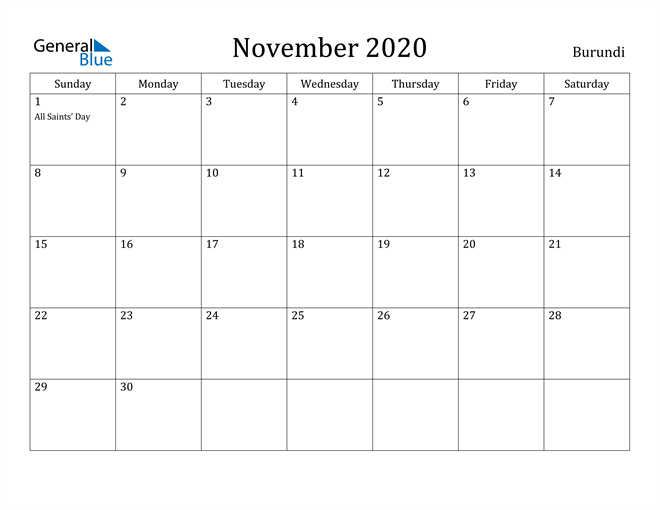 Image of November 2020 Burundi Calendar with Holidays Calendar