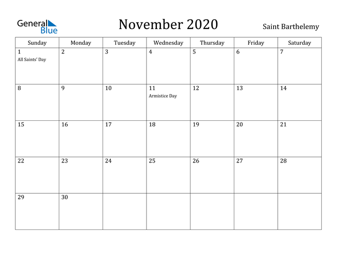 Image of November 2020 Saint Barthelemy Calendar with Holidays Calendar