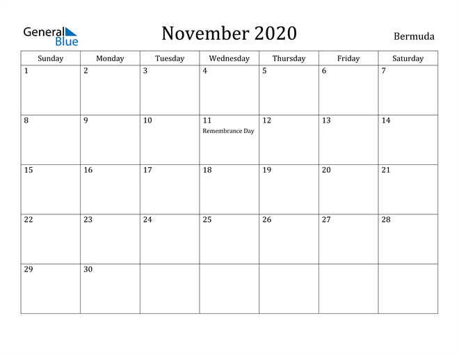 Image of November 2020 Bermuda Calendar with Holidays Calendar